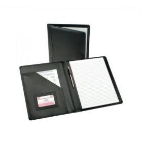 5 Star Elite Executive Conference Folder Genuine Leather Cover Capacity 30mm A4 Black
