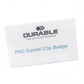 Durable Name Badges Combi Clip for Pin or Clip to Clothing 54x90mm Ref 8101-19 Pack of 50