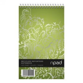 Cambridge Recycled Shorthand Pad Wirebound 70gsm Ruled Perf 120pp 125x200mm Green Ref 100080120 Pack of 10