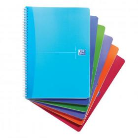 Oxford Office Notebook Poly Wirebound 90gsm Smart Ruled 180pp A4 Assorted Colour Ref 100104241 Pack of 5