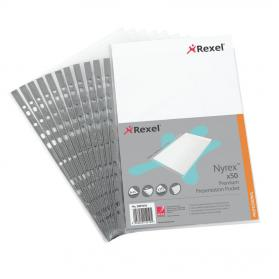 Rexel Nyrex Premium Presentation Pockets Top-opening 90 Micron A4 Glass Clear Ref 2001018 Pack of 50