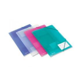 Rexel Ice File 4-Fold Polypropylene Elasticated for 200 Sheets A4 Assorted Ref 2102050 Pack of 4