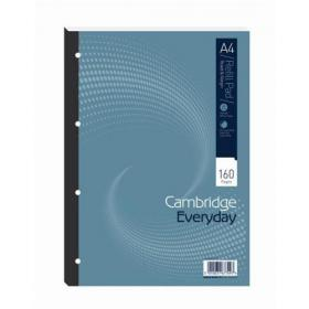 Cambridge Everyday Refill Pad Sbd 70gsm Ruled Margin Punched 4 Holes 160pp A4 Blue Ref 100080234 Pack of 5