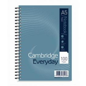 Cambridge Everyday Nbk Wirebound 70gsm Ruled Perforated Punched 2 Holes 100pp A5 Ref 100080190 Pack of 10