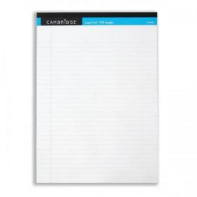 Cambridge Legal Pad Headbound Ruled Margin Perforated 100pp A4 White Paper Ref 100080159 Pack of 10
