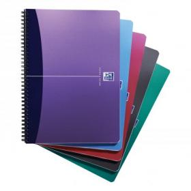 Oxford Office Notebook Poly Wirebound 90gsm Smart Ruled 180pp A4 Assorted Colour Ref 100101918 Pack of 5
