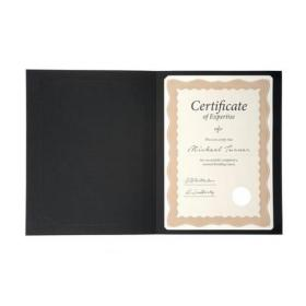 Certificate Covers Linen Finish Heavyweight Card 240g A4 Black Pack of 5