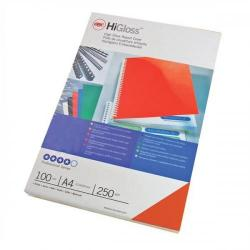 Cheap Stationery Supply of GBC (A4) HiGloss Binding Covers Plain Card 250g/m2 (Red) - 1 x Pack of 100 Binding Covers CE020030 Office Statationery