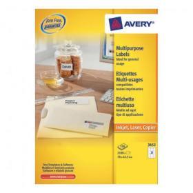 Avery Multipurpose Labels Laser Copier Inkjet 21 per Sheet 70x42.3mm White Ref 3652 2100 Labels
