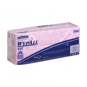 Wypall X50 Cleaning Cloths Absorbent Strong Non-woven Tear-resistant Red Ref 7444 Pack of 50