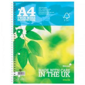 Silvine FSC Notebook Wirebnd 56gsm Ruled Margin Perforated Punched 4 Holes 160pp A4 Ref FSCTW80 Pack of 5