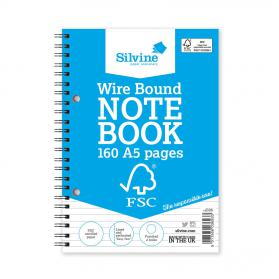 Silvine FSC Notebook Wirebound 56gsm Ruled Perforated 160pp A5 Ref FSCTWA5 Pack of 5