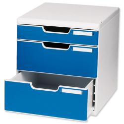 Cheap Stationery Supply of Exacompta Classic (A4) MODULO 3 Drawers Desktop Drawer Set (Light Grey/Blue) 325003D Office Statationery