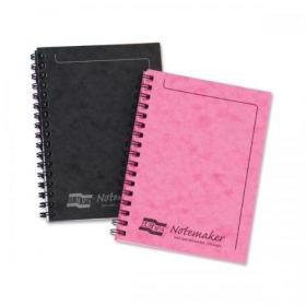 Notebook Sidebound Twin Wire 80gsm Ruled & Perforated 120pp A5 Black Pack of 10
