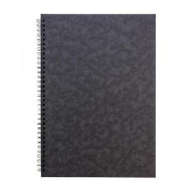 Notebook Sidebound Twin Wire 80gsm Ruled & Perforated 120pp A4 Black Pack of 10