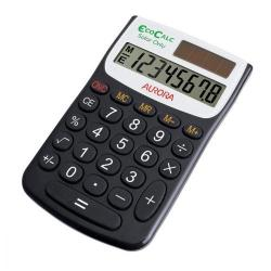 Cheap Stationery Supply of Aurora EcoCalc Handheld Calculator 8 Digit 4 Key Memory Solar Power Recycled 62x9x102mm Black EC101 Office Statationery