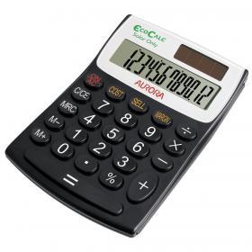 Aurora EcoCalc Desktop Calculator 12 Digit Recycled Solar Powered 98x28x137mm Black Ref EC404