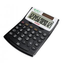 Cheap Stationery Supply of Aurora EcoCalc Desktop Calculator 12 Digit 3 Key Memory Recycled Solar Power 128x31x180mm Black EC707 Office Statationery