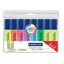 Cheap Stationery Supply of Staedtler Textsurfer Classic Highlighter Line Width 1-5mm Wallet Assorted 364AWP8 Pack of 6 + 2 FREE Office Statationery