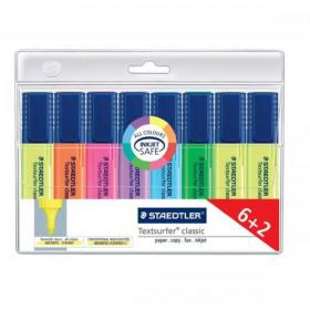 Staedtler Textsurfer Classic Highlighter Line Width 1-5mm Assorted Ref 364AWP8 Pack of 6 + 2 FREE