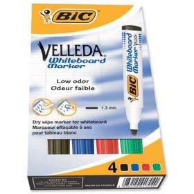 Bic Velleda Marker Whiteboard Dry-wipe 1701 Large Bullet Tip 1.5mm Line Assorted Ref 904941 Pack of 4