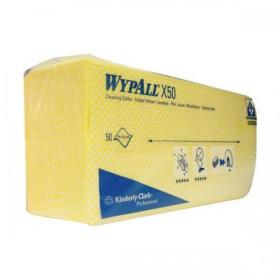 Wypall X50 Cleaning Cloths Absorbent Strong Non-woven Tear-resistant Yellow Ref 7443 Pack of 50