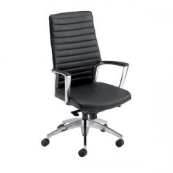 Cheap Stationery Supply of Adroit Zip Leather Medium Back Chair (Black Upholstery with Chrome Metal Frame) with Fixed Arms AccordBKL Office Statationery