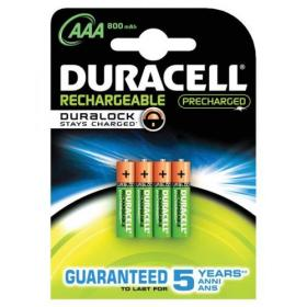 Duracell Stay Charged Battery Long-life Rechargeable 850mAh AAA Size 1.2V Ref 81364755 Pack of 4