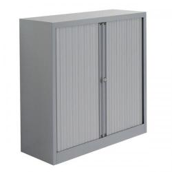 Cheap Stationery Supply of Bisley A4 EuroTambour Et410/10 (1030mm) Low Cupboard with 2 Shelves (Silver Frame with Silver Shutters) ET410/10/2SS Office Statationery