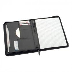 Cheap Stationery Supply of 5 Star Office Zipped Conference Folder Capacity 20mm Leather Look A4 Black Office Statationery