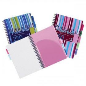 Pukka Pad Project Book Wirebound Perforated Ruled 5-Divider 80gsm 250pp A4 Assorted Ref PROBA4 Pack of 3