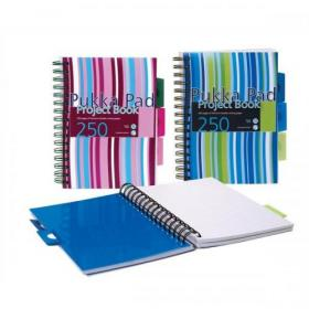 Pukka Pad Project Book Wirebound Perforated Ruled 3-Divider 80gsm 250pp A5 Assorted Ref PROBA5 Pack of 3