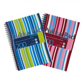 Pukka Pad Jotta Notebook Poly Wirebound 80gsm Ruled Perforated 200pp A5 Assorted Ref JP021 3/4 Pack ofed 3