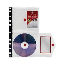 Cheap Stationery Supply of Concord Ring Binder Stud Wallet Multipunched for 2 CDs (Clear) Pack of 5 7135-PFL Office Statationery