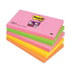 Cheap Stationery Supply of 3M Post-it Super Sticky Note Pads (76x127mm) Neon Rainbow (5 x Pack of 90 Sheets) - Offer 3 for 2 (July to September 2014) 655-SN-XX Office Statationery