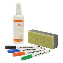 Cheap Stationery Supply of 5 Star Office Drywipe Starter Kit 4 Asst Whiteboard Markers/Eraser/125ml Whiteboard Cleaning Fluid Spray Office Statationery