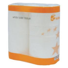 5 Star Facilities Toilet Rolls 2-ply 102x92mm 4 Rolls of 320 Sheets Per Pack White Pack of 9