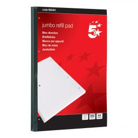 5 Star Office Jumbo Refill Pad Sidebound 60gsm Ruled Margin Punched 4 Holes 400pp A4 Red Pack of 4