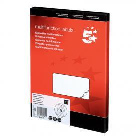 5 Star Office Multipurpose Labels Laser Copier Inkjet 16 per Sheet 105x35mm White 1600 Labels