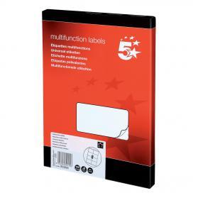 5 Star Office Multipurpose Labels Laser Copier Inkjet 8 per Sheet 105x71mm White 800 Labels