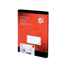 5 Star Office Addressing Labels Inkjet 14 per Sheet 99.1x38.1mm White 1400 Labels
