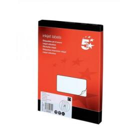 5 Star Office Addressing Labels Inkjet 21 per Sheet 63.5x38.1mm White 2100 Labels