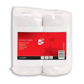 5 Star Facilities Kitchen Towels 2-Ply 55 Sheets per Roll White Pack of 2