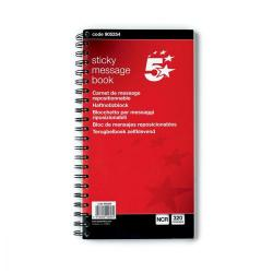 Cheap Stationery Supply of 5 Star Office Telephone Message Book Wirebound Carbonless Sticky 320 Notes 80 Pages 275x150mm Office Statationery