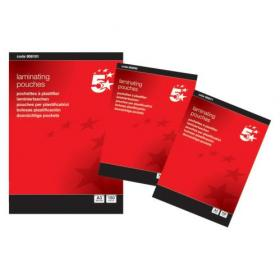 5 Star Office Laminating Pouches 150 Micron for A4 Gloss Pack of 100