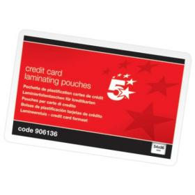5 Star Office Laminating Pouches 250 Micron for Credit Card size 54x86mm Gloss Pack of 100
