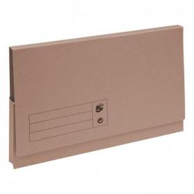 5 Star Office Document Wallet Full Flap 285gsm Recycled Capacity 32mm Foolscap Buff Pack of 50