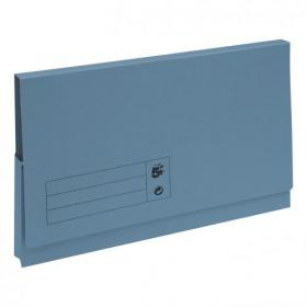 5 Star Office Document Wallet Full Flap 285gsm Recycled Capacity 32mm Foolscap Blue Pack of 50