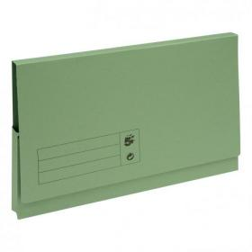 5 Star Office Document Wallet Full Flap 285gsm Recycled Capacity 32mm Foolscap Green Pack of 50