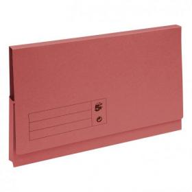5 Star Office Document Wallet Full Flap 285gsm Recycled Capacity 32mm Foolscap Red Pack of 50